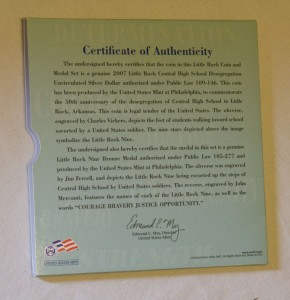 Certificate of Authenticity-Little Rock Coin Set-African American Coins